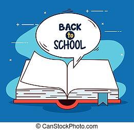 libro, abierto, escuela, espalda, bandera