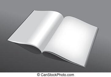 libro, abierto, vacío