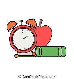 Libro de la escuela con icono despertador
