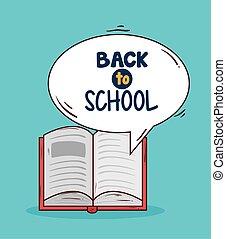 libro, espalda, abierto, escuela, bandera