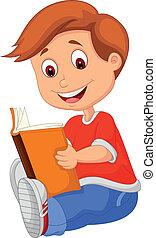 libro, niño joven, lectura, caricatura