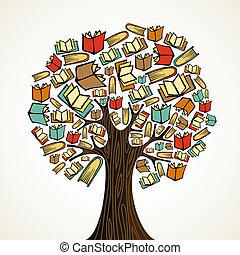 libros, árbol, concepto, educación