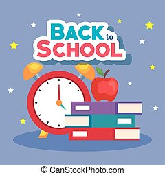 libros de la escuela, reloj, alarma, espalda, fruta, bandera, manzana
