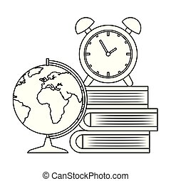 Libros de pila con despertador y mapa de tierra