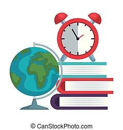 Libros de pila con despertador y mapa del mundo