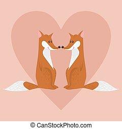 Linda pareja de zorros de dibujos animados enamorados