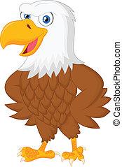 Lindo dibujo animado de águila posando