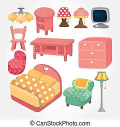 lindo, muebles, conjunto, caricatura, icono
