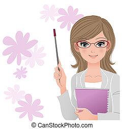Lindo profesor con un palo de punta
