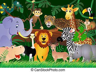 Lindos dibujos animados en la jungla