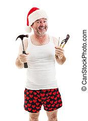 Listos para Navidad. Papá con herramientas