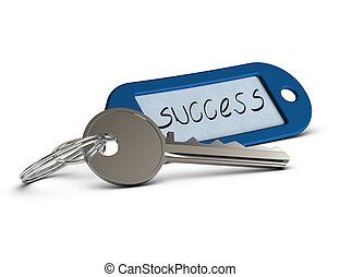 Llave con llave azul donde está escrita la palabra éxito, imagen del concepto sobre el fondo blanco