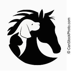 Logo de gato y caballo