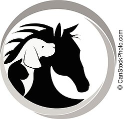 Logo perro gato y caballo