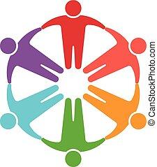 logotipo, círculo, gente