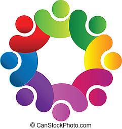 logotipo, equipo, conectado, gente