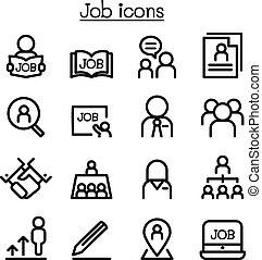 Los íconos del trabajo en línea delgada
