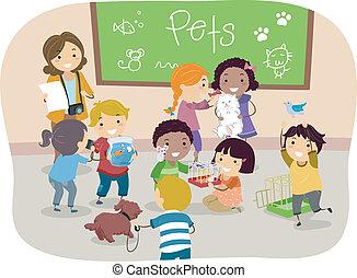 Los chicos de Stickman con mascotas en clase