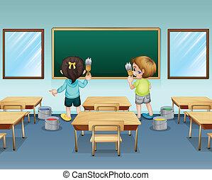 Los estudiantes pintan su clase