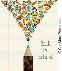 Los iconos de educación vuelven al lápiz de la escuela.