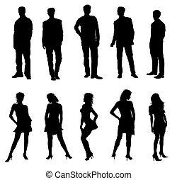 Los jóvenes adultos siluetas de blanco negro
