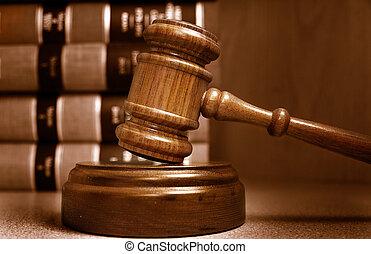 Los jueces danl y los libros de leyes están detrás