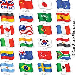 Los países más importantes vectorizan banderas nacionales