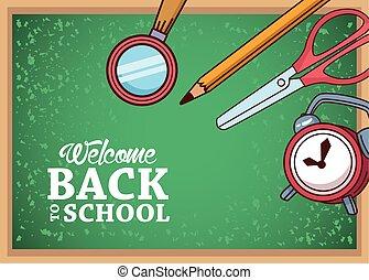 lupe, scissor, diseño, lápiz, espalda, escuela, tabla, verde, reloj, vector