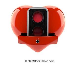 luz, dentro, tráfico, corazón, rojo