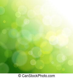 luz, resumen, verde, fondo.