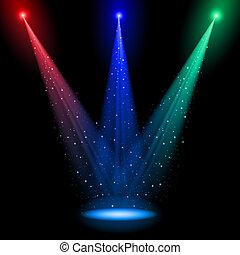 luz, rgb, cónico, tres, ejes