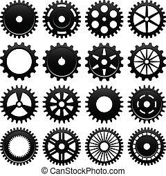 máquina, rueda, rueda dentada, engranaje