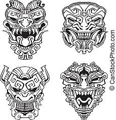 Máscaras de tótem de monstruo azteca