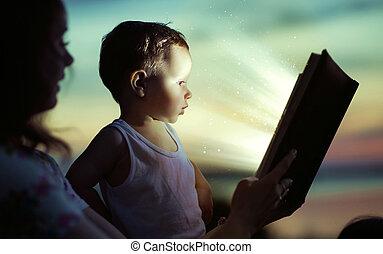 Mamá leyendo para su hijo
