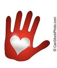 Mano del corazón. Diseño de ilustración