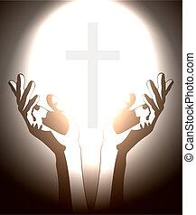 Mano y cruz cristiana