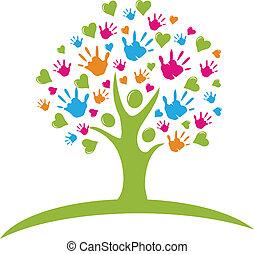 manos, corazones, árbol, figuras