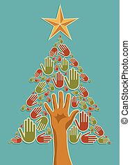 Manos de árbol de Navidad de Diversidad