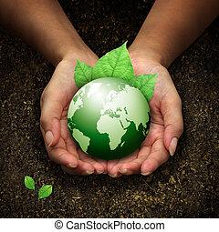 Manos humanas sosteniendo tierra verde