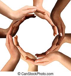 Manos multirraciales haciendo un círculo