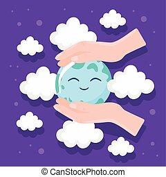 manos, mundo, cuidado