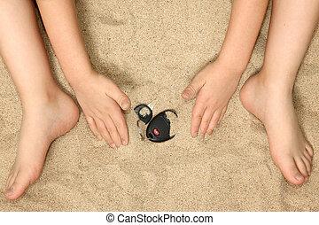 Manos y pies en la arena