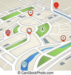 mapa, ciudad, resumen