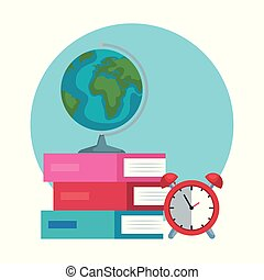 Mapa global con alarma de reloj y libros