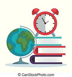 Mapa global con libros y alarma de reloj