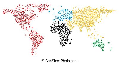 Mapa mundial con iconos educativos