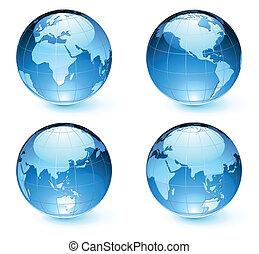 mapa, tierra, globos, brillante