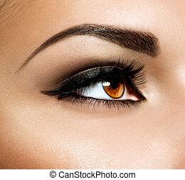 maquillaje, makeup., ojos, marrón, ojo