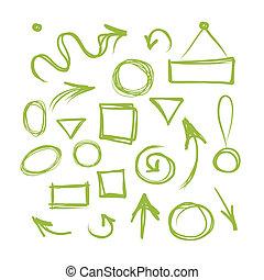 marcos, bosquejo, flechas, su, diseño