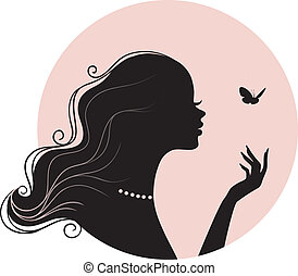 mariposa, mujer, belleza